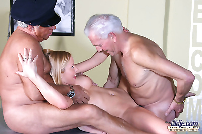 Young blonde girl lives out her dreams of having sex with 2 old men at once
