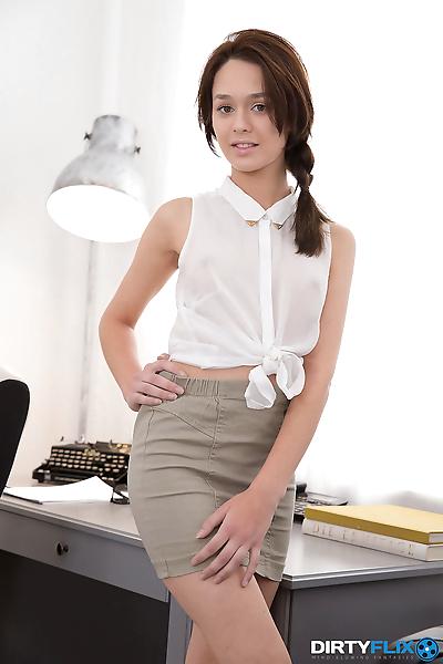 Petite young secretary gets..