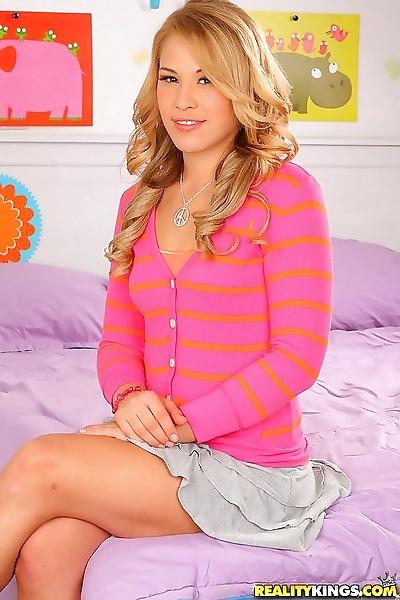 Innocent looking blonde teen..