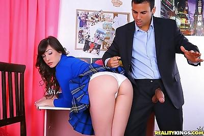 Brunette schoolgirl gets ass..