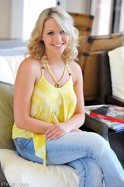 Ravishing blonde looker with..