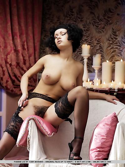 Busty Pammie Lee in black..