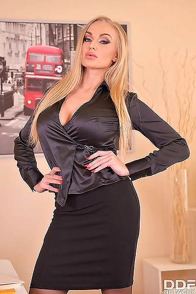 Hot blonde teacher forces a..