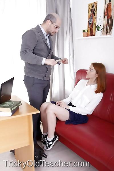 Natural redhead seduces her..