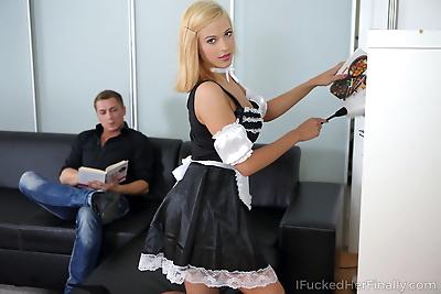 Young blonde maid Ria Sunn..