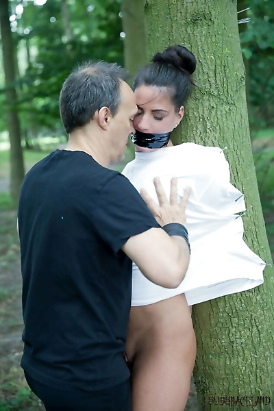Young brunette slave is..