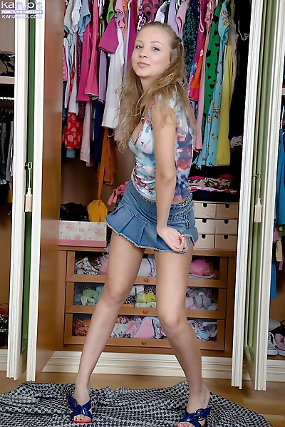 Petite amateur teen Alice toys her perfect pink hole in front of her closet