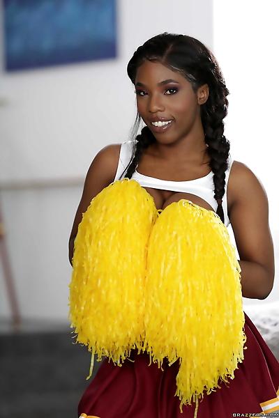 Sexy ebony cheerleader Sarah..